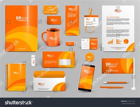 Travel Business Card Template With Orange Wavy Designs by Orange Luxury Branding Design Kit Identity 스톡 벡터 413712151