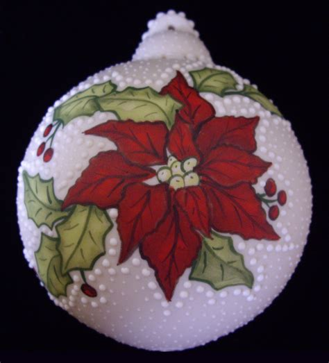 poinsettia holly porcelain christmas ornament ceramic