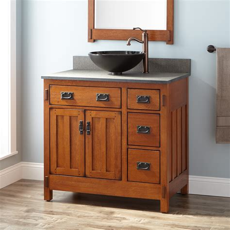 Bathroom Vanity Rustic 36 Quot American Craftsman Vessel Sink Vanity Rustic Oak Wood Vanities Bathroom Vanities