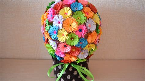 Paper Flower Bouquet Craft - how to make a paper flower bouquet diy crafts
