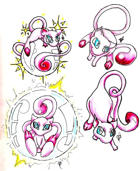 mew tattoo mew style practise by shazam26 on deviantart