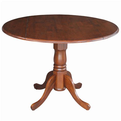 42 Inch Drop Leaf Pedestal Table by Dining Essentials Espresso 42 Inch Wide Dual Drop