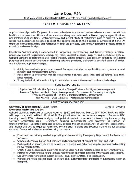 application analyst resume