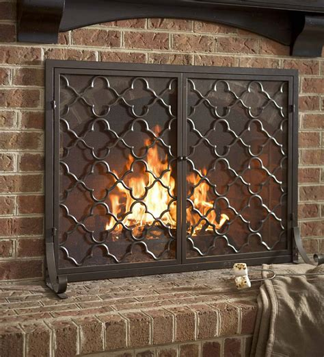 wide fireplace screen large geometric fireplace screen with doors 44 w x 33 h
