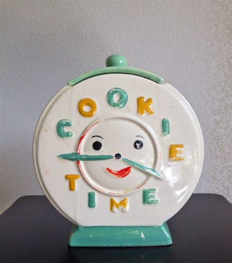 clock themes jar rare quot cookie time quot clock cookie jar nr c is for