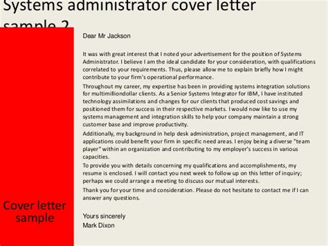 Systems Integration Manager Cover Letter by Systems Administrator Cover Letter
