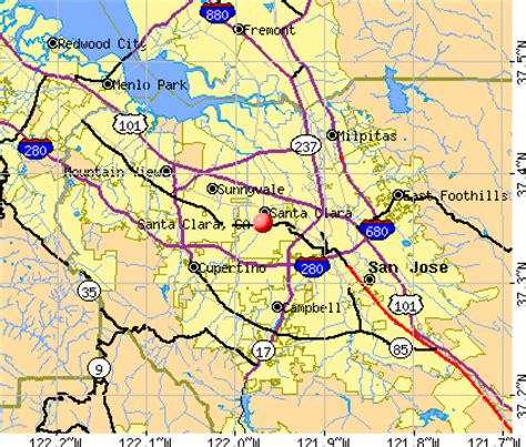 santa clara california map map santa clara california california map