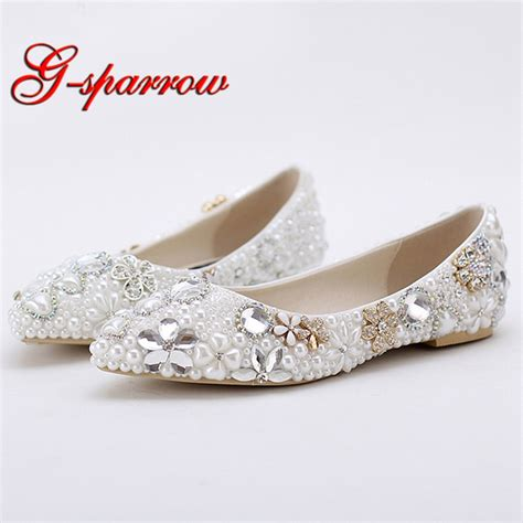 s flat wedding shoes 2018 beautiful flat heel white pearl wedding shoes
