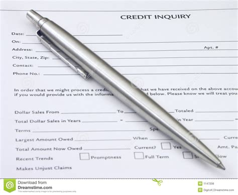 Credit Inquiry Form Credit Inquiry Royalty Free Stock Photos Image 1147208
