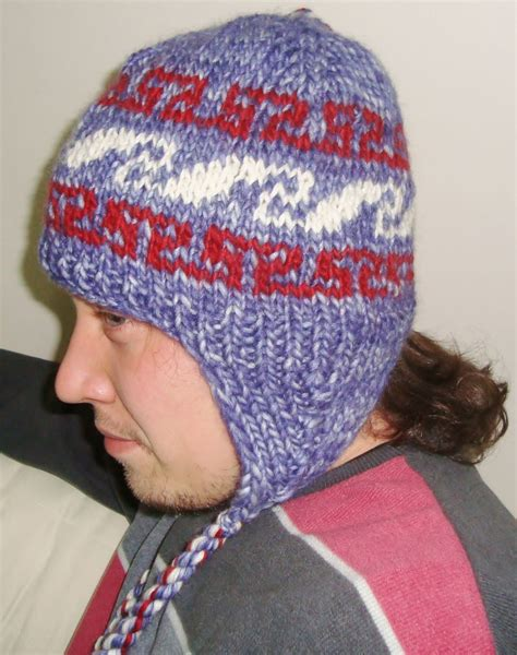 knit hat with ear flaps knit hat mens hat with ear flap hat in blue white