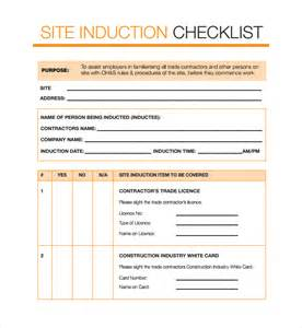 Induction Template Document by Sle Induction Checklist Template 9 Free Documents In