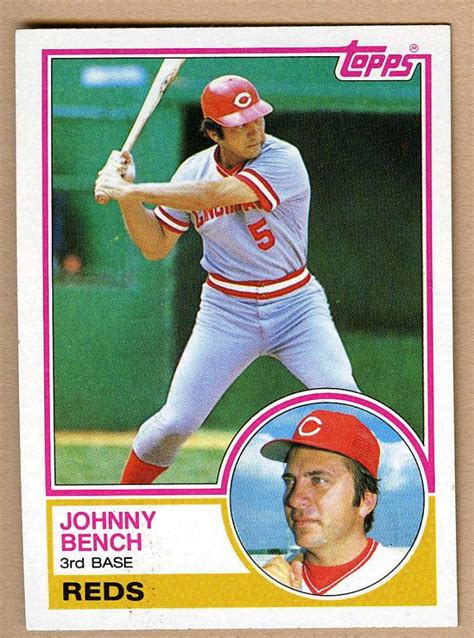 johnny bench baseball card 1983 topps 60 johnny bench baseball card