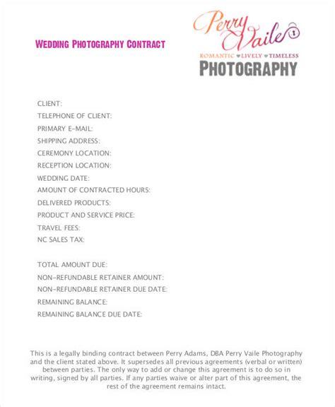 wedding photography contract template 5 wedding contract sles templates in pdf