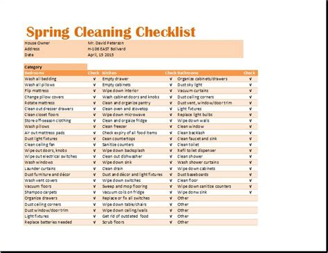 ms excel spring cleaning checklist template word excel