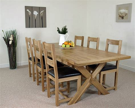Vermont Dining Table Vermont Solid Oak Extending Cross Leg Dining Table With 8