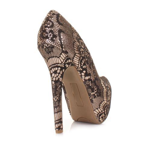 gold high heels cheap womens high heel platform lace overlay court shoes