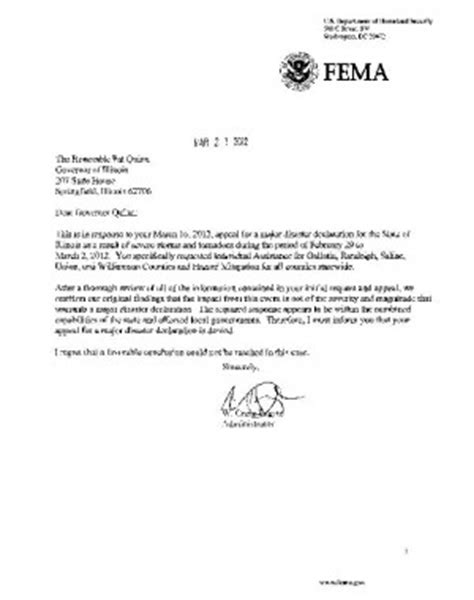 Appeal Letter Sle To Fema Fema Denies Illinois Appeal News
