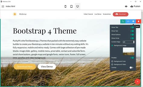 Mobirise Releases Bootstrap 4 Theme For Cutting Edge Websites Best Template Based Website Builder