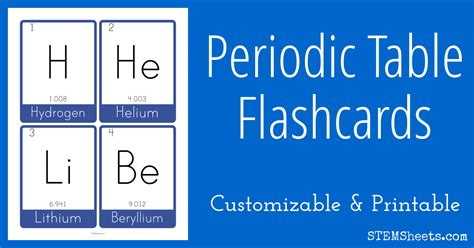 printable periodic table flash cards free periodic table flash cards stem sheets