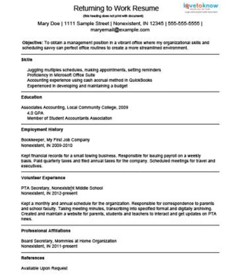 exle resume for a homemaker returning to work