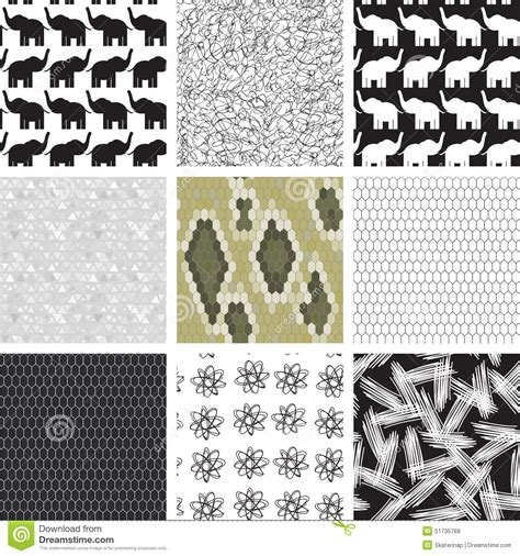 triangle pattern snake large set of seamless pattern with elephants stock vector