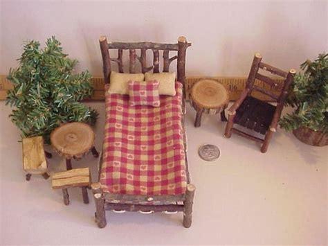 rustic miniature dollhouse furniture set log cabin