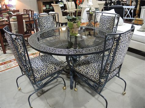 Rod Iron Dining Room Set Rectangle Glass Top Table With White Wrought Iron Legs Combined With White Wrought Iron Chairs