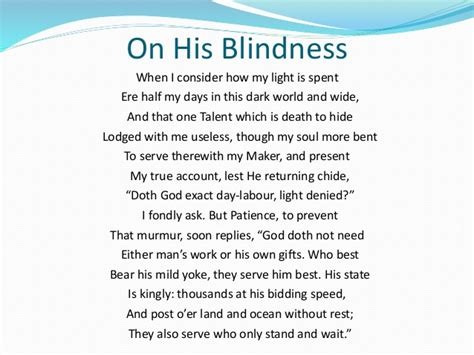 Milton S Sonnet On His Blindness poem analysis on on his blindness by milton