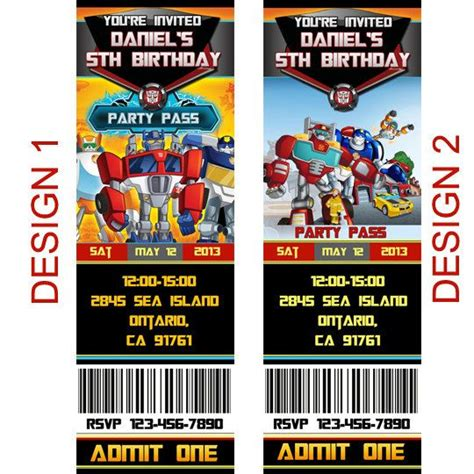 printable rescue bots birthday invitations personalized transformers rescue bots birthday by