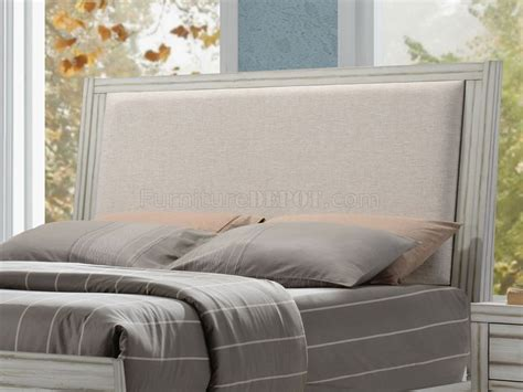 fabric headboard bedroom sets shayla bedroom set 5pc 23980 in antique white w fabric headboard
