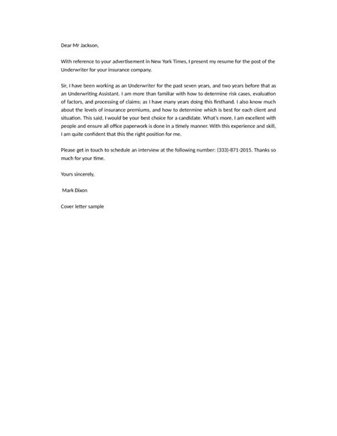 Insurance Cover Letter No Experience underwriter insurance cover letter