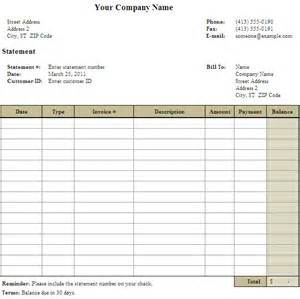 Invoice Statement Template Free Bill Statement Template Helloalive