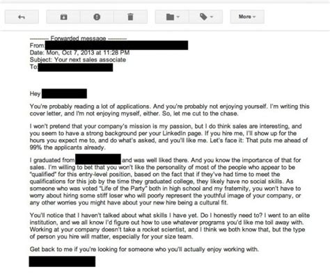 bad cover letter the worst cover letter written literally