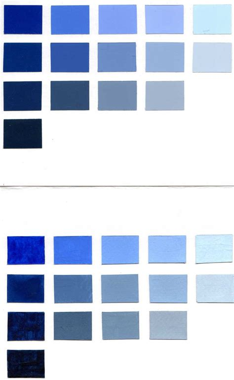 shades of blue chart blue color chart in color
