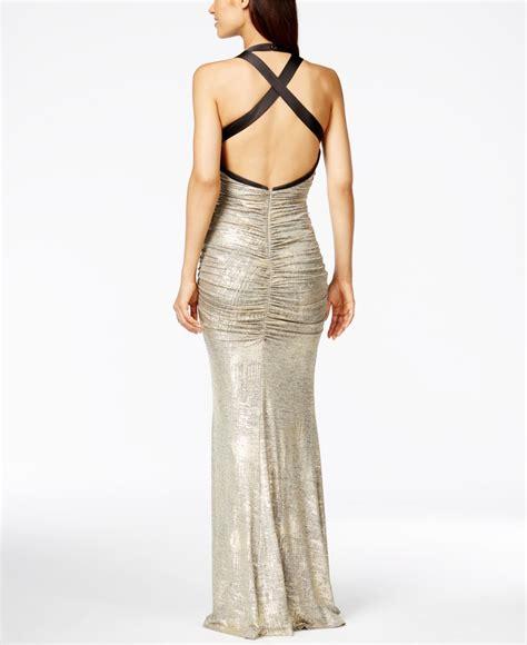 Dibba Maxi Calvin Ori lyst calvin klein metallic ruched halter gown in metallic