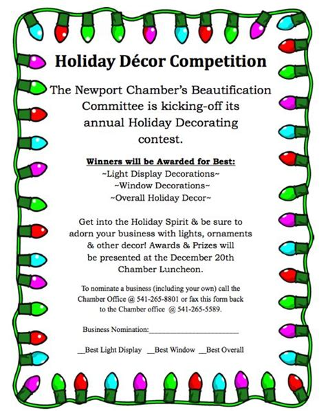 office holiday decorating contest flyer newport chamber business decoration contest news lincoln county