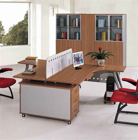 2 person desk home office furniture brown plywood veneered desk for two person with