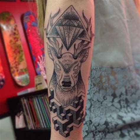 tattoo geometric deer geometric deer head by francomaldonado tattoo arm