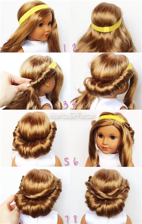 Doll Hairstyles Tutorial wrapped headband updo american doll hairstyle click