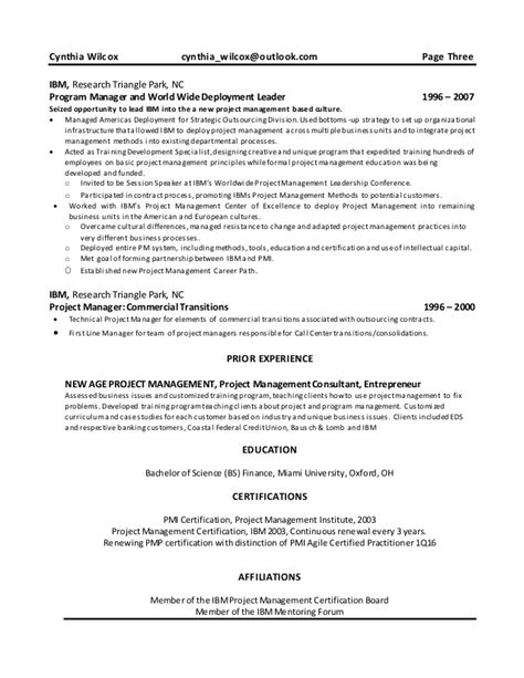Project Portfolio Manager Resume Sle cynthia wilcox resume project portfolio manager