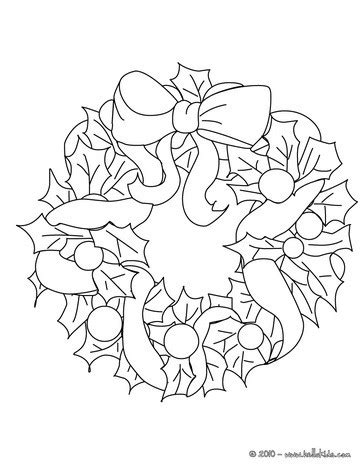 holly wreath coloring page holly leaves wreath coloring pages hellokids com
