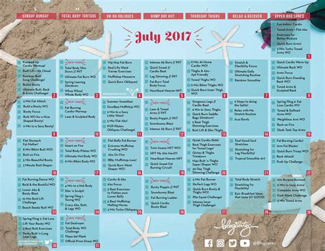 Calendar Home Your July Workout Calendar