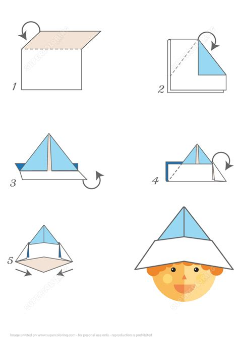 Folding Paper Hats - how to make an origami paper hat step by step