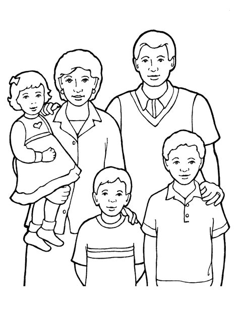 coloring page of a family praying family of five standing together