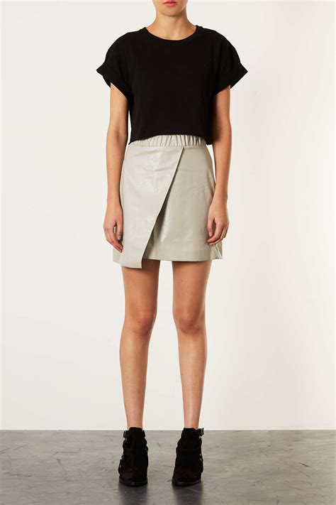 topshop s casual grey wrap leather skirt funky
