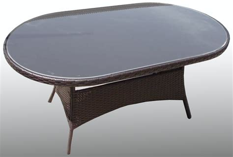Oval Patio Table All Weather Rattan Wicker Garden Patio Glass Oval Table