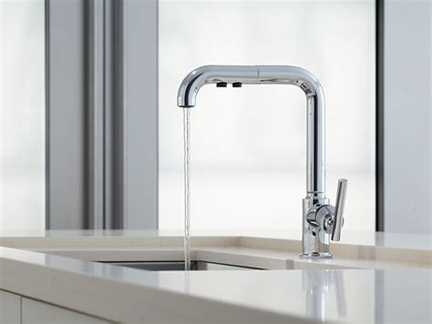 kohler kitchen sink faucet purist single handle pullout spray kitchen sink faucet k