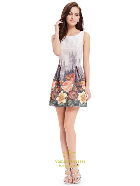 Summer Flare Dress vintage style floral print fit and flare summer sleeveless