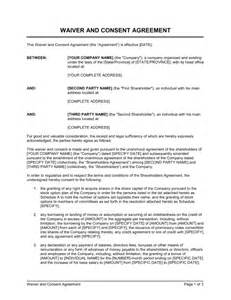 Waiver Agreement Template by Waiver And Consent Template Sle Form Biztree