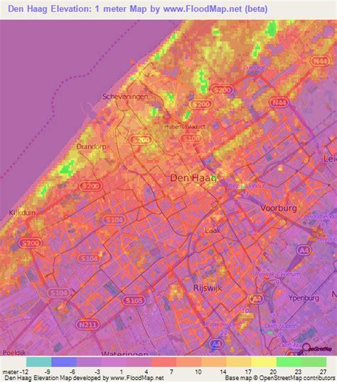 netherlands map den haag elevation of den haag netherlands elevation map